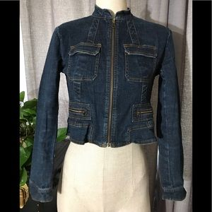DKNY petite crop blue denim jean jacket zip up 4